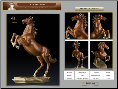 Roaring Horse Bronze Table Top Statue