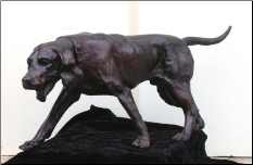 Bronze Standing Dog Sculpture
