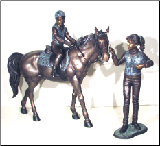 Riding Lessons, Bronze Sculpture