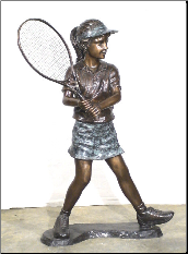 Girl Tennis Player, Bronze Statue