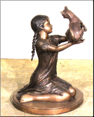 Girl with Kitten, Bronze Statue