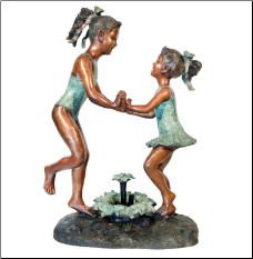 Bronze Beach Girls Dancing Fountain Sculpture