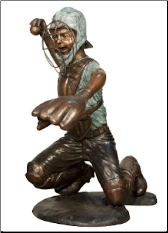 Bronze Baseball Catcher Sitting Sculpture Rt