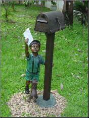 Standing Small Boy with Mailbox