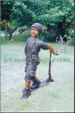 Bronze Statue Boy Playing on Scooter