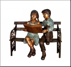 Boy and Girl-Reading-Sitting on-Bench