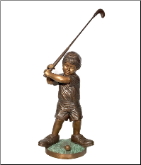 Little-Boy-Golfer bronze statue