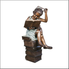 Bronze Statue Girl Sitting on Pile Of Books Reading