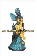 Semi Nude Seated Angel Bronze Statue