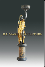 Ancient Women Candle Holder Bronze Statue, faing right