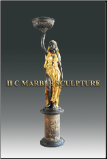 Ancient Women Candle Holder Bronze Statue, facing left