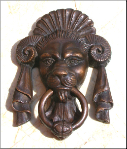 Lion Face w/ Horn Door Knocker