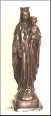 Bronze Table Top Statue of Madonna & Baby Jesus