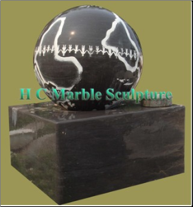 Black Marble Ball World Peace Fountain Square Base