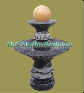 Black Marble 2 Tier w Peach Ball Fountain