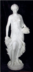 Marble Statue Lady with Flower Basket