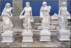 Four Seasons Maiden Statues on Base (A)