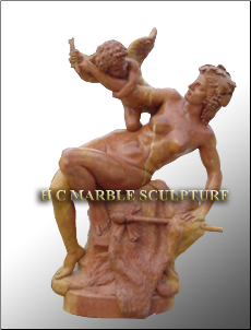 Lady w/Cupid, Dark Rose Marble Statue
