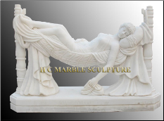 Marble Stataue Maiden lying in Hamock