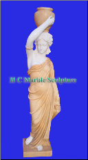 Marble Statue Maiden w Jug on Head
