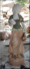 Marble Statue French Maiden in Ruffled Hat