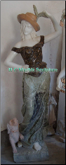 Marble Statue Girl with Feather Hat & Dog