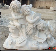 Marble Children Band Sculpture