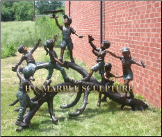 Children w/ Water Guns Bronze Sculpture Fount
