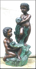Bronze Fountain of Two Boy w/ Vase and Oyster