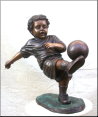 Boy Playing Soccer, Bronze Statue