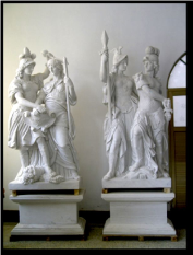 Pair Roman Marble Statues in White Marble