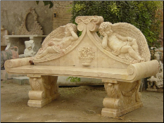 Marble Cupid Bench