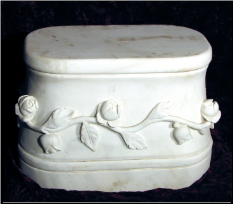Marble Oval Bench w/ Flowers