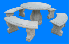 Round Marble Table with 4 Benches