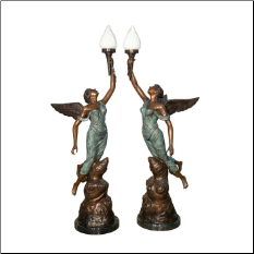 Angel Torchere Bronze Sculpture Set