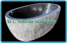 Oval White Texture Marble Bathtub