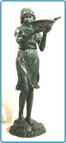 Bronze Fountain of Standing Girl w/ Birds in Grn