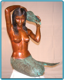 Bronze Fountain Sitting Mermaid w Shell