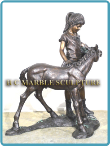 Girl with Precious Pony, Bronze Sculpture