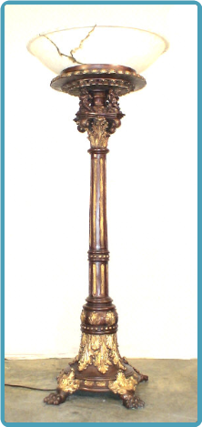Bronze Cupid Base Lamp w/ Large Poly Shade