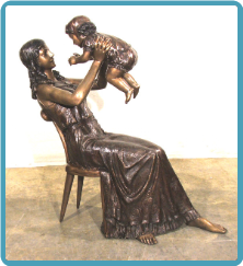 Mother and Child Bronze Statue