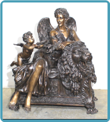 Angels w/ Lion Brnz Statue