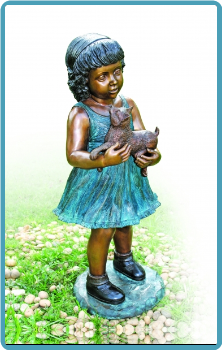 Bronze Little Grl W/ Pet Cat