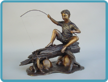 Bronze Table Top Statue of Boy Fishing