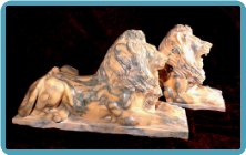 Orange Marble Lions Lying Down on Base