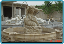 Hand Carved Neptune Marble Fountain