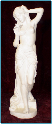 Marble Statue Standing woman with Rose