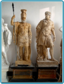 Pair Roman Statues in Travertine Marble