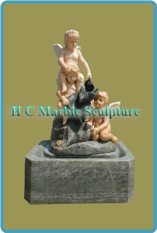 Marble Statue of 3 Angels; in Self Contained Fountain