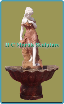 French Maiden with Jug Statue; in Self Contained Marble Fountain